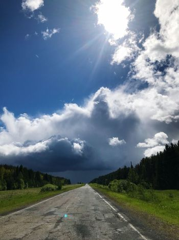 Sky Cloud - Sky Road The Way Forward Tree Direction Plant Land No People Green Color Day Sunlight Transportation Nature Beauty In Nature