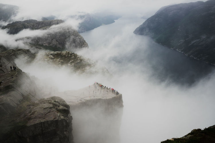 Norway Preikestolen Beauty In Nature Cliff Day Fog Long Exposure Motion Mountain Nature No People Outdoors Power In Nature Rock - Object Scenics Sky Water Waterfall