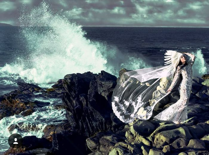 Model Sea Water Splashing Wave Power In Nature Motion Beauty In Nature Nature Outdoors Daytime Wedding Wedding Dress Beach Ocean Waves Waves Crashing Woman Tranquility