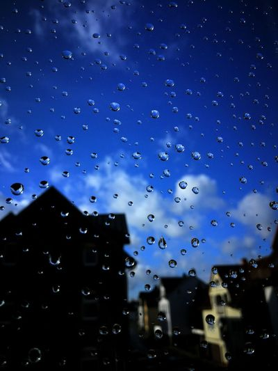 Drop Wet No People Window RainDrop Water Architecture Sky Outdoors Nature Close-up Backgrounds Beauty In Nature