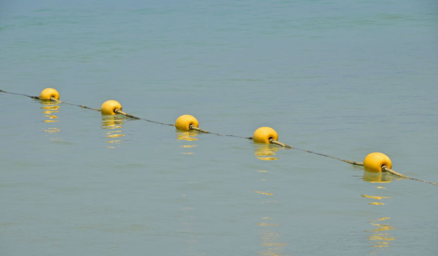 Floating yellow buoys in the sea Beach Blue Sea Border Borderline Buoys Crossing Divide Divided Floating Learn & Shoot: Balancing Elements LINE Ocean Perspective Reflection Sea Seaside Separation Water Yellow Pivotal Ideas Paint The Town Yellow