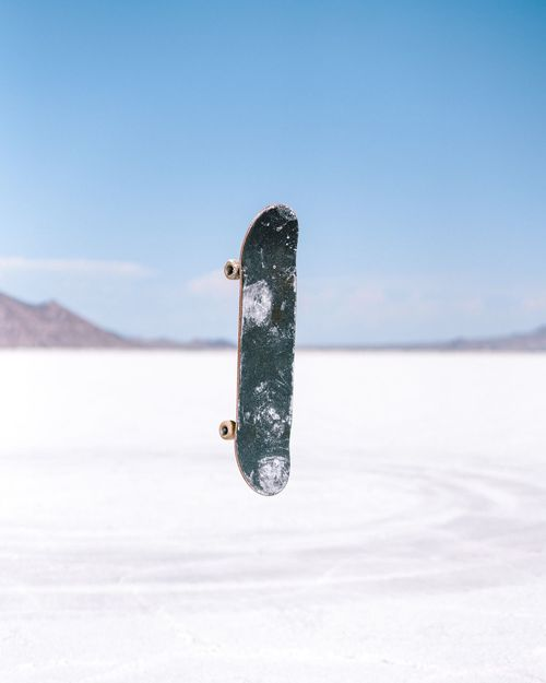 Floating skateboard Salt Flats Utah Magic Levitation Floating Skateboard Sky Nature Day Environment Water No People Outdoors Land Blue Scenics - Nature Beauty In Nature Desert Cloud - Sky Tranquility Copy Space Sunny