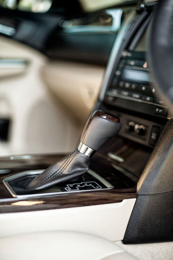Close-up of car gear stick