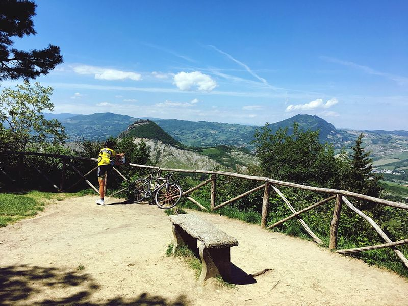 Mountain Sky Day Real People Nature Tree Men Beauty In Nature Scenics Mountain Range Outdoors Leisure Activity Lifestyles One Person Full Length Landscape Growth People San Leo Emiliaromagna Cyclist