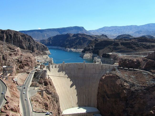 Hoover Dam Hooverdam Nevada Nevada, USA USA Southwest USA Arizona Clear Sky Architecture Nature Sky Building Exterior Damm Stausee Staumauer Lake