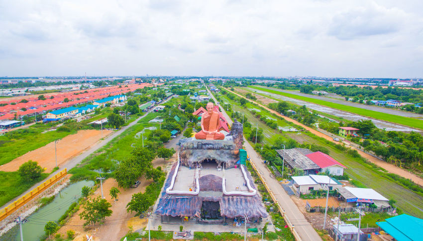 Big Buddha Big Buddha Temple Big Buddha Statue Big Buddha, Thailand High Angle Of View High Angle Shot High Angle View High Angle View Clear Sky Temple Temple In Thailand Templephotography