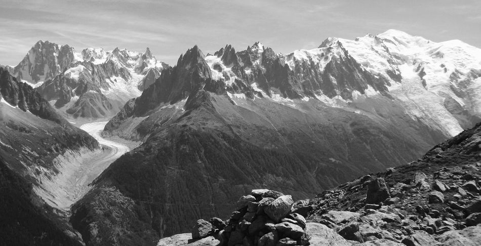 Beauty In Nature Black And White Chamonix Landscape Mer De Glaçe Mont Blanc Massif Mountain Mountain Peak Nature