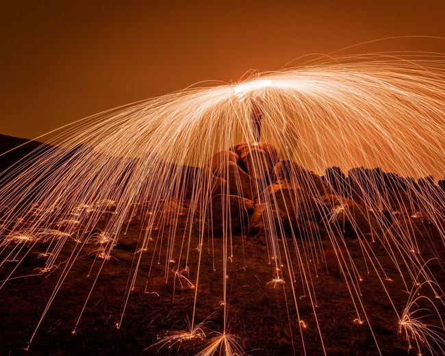 Wire wool against sky during sunset
