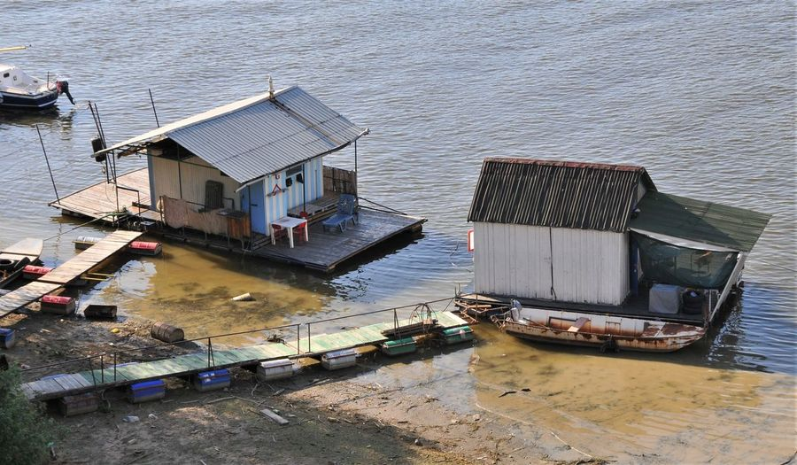 Beograd Serbia Built Structure Day Floating House High Angle View No People Water