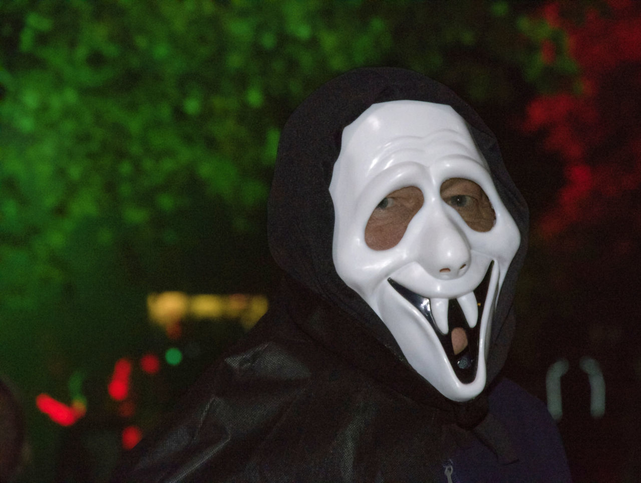 mask - disguise, spooky, focus on foreground, halloween, horror, disguise, night, celebration, close-up, outdoors, evil, anthropomorphic face, no people, clown