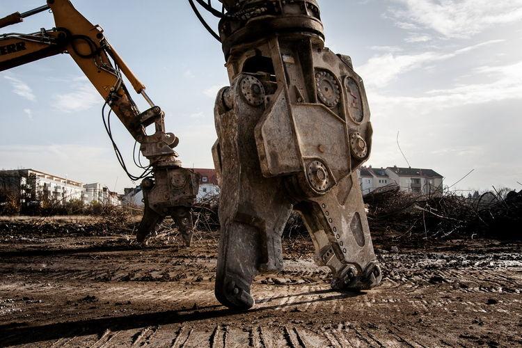 Grabber of crane at construction site