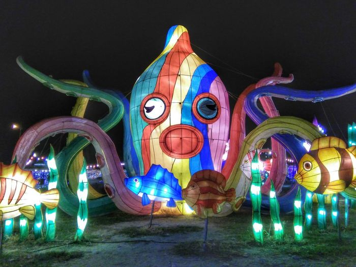 Light Clour Of Life Octopus Night Multi Colored Sculpture Illuminated Travel Destinations Dragon No People Outdoors