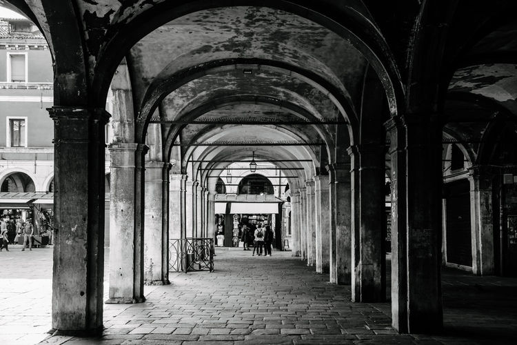 Venice Venice, Italy Arch Architecture Building Built Structure Direction The Way Forward Arcade Corridor Day Indoors  Real People Architectural Column Incidental People Rear View Men Flooring One Person In A Row The Past Colonnade Arched Ceiling