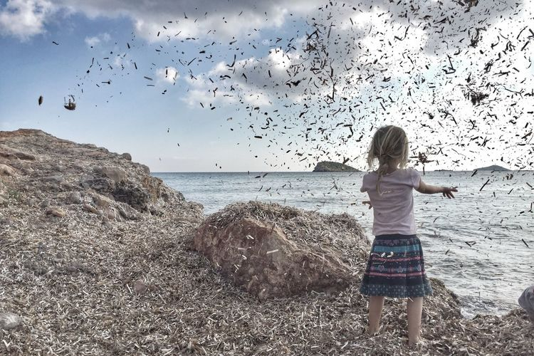 Showcase: February Girl Seaweed Throwing  Wind Childhood Freedom Natural Child Beach Nature Playing Natural Play Blonde Ibiza People Of The Oceans