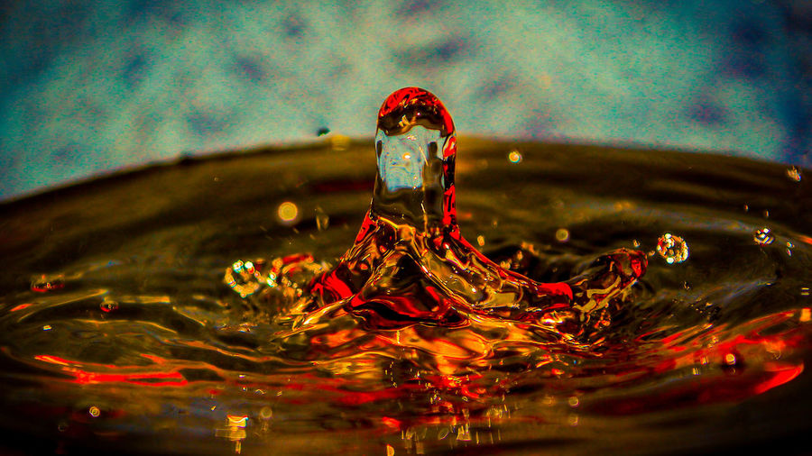 Close-up Drop High-speed Photography Indoors  Motion No People Red Rippled Splashing Droplet Water Waterfront