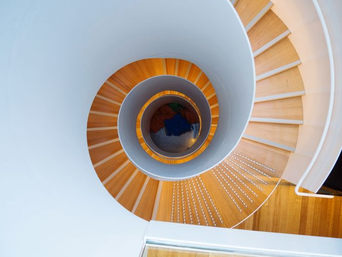 Stairs Architecture No People Indoors  Spiral Directly Above Built Structure Low Angle View Shape Pattern Design