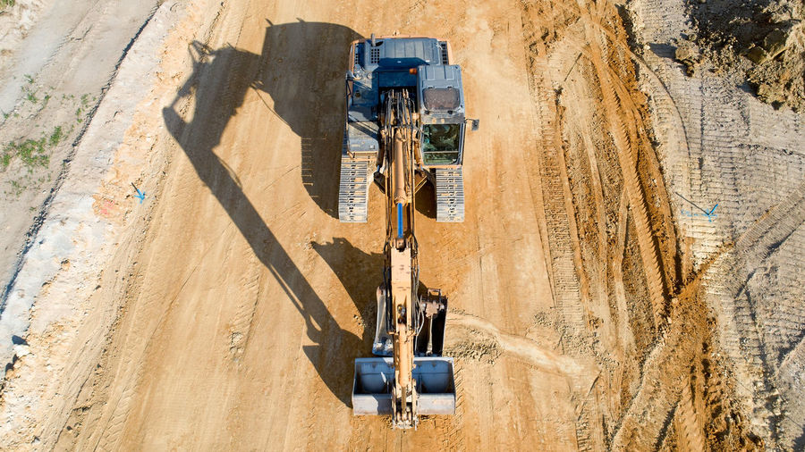 High Angle View Of Bulldozer At Coal Mine