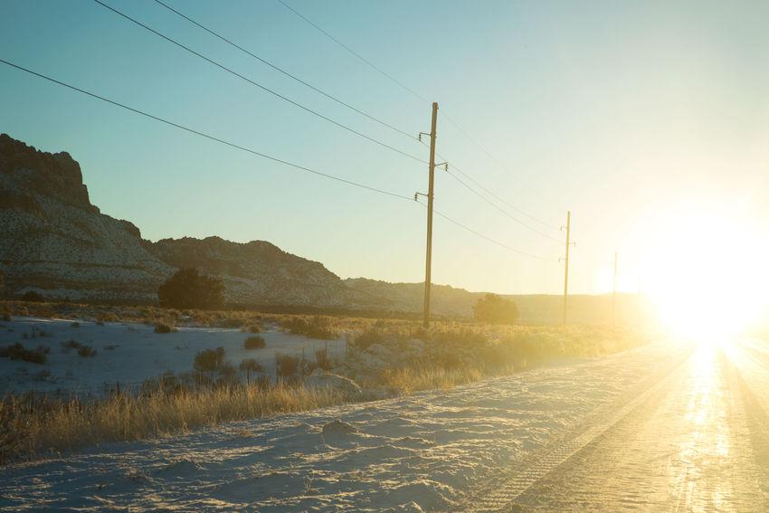 After the storm Sunrise Landscape Snow Sunshine Cold Frozen Frozen Nature Cold Temperature Sunlight Road Utah Travel Landscapes