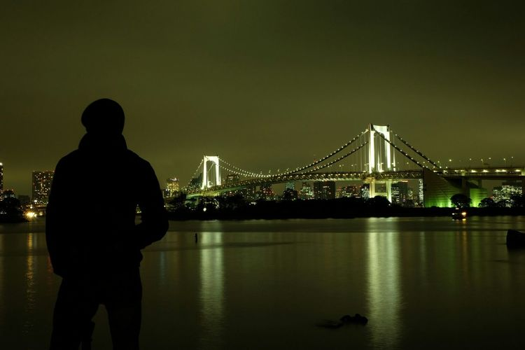 Taking in the moment... Relaxing Refreshment Travel Photography Silhouette Light And Shadow Nightphotography Cityscape Bridgeporn Bridge Japan Waterfront That's Me Seeing The Sights