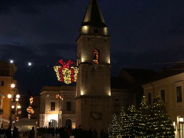My Town Travel Photography Travel Destinations Mypointofview Benevento Campaniafelix Campania Italia Italy EyeEm Best Shots Night Illuminated Architecture Building Exterior Built Structure Sky Christmas Tree Clock No People Outdoors
