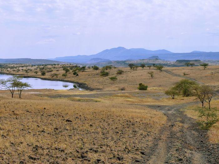 Scenic arid landscapes against sky, lake magadi, rift valley, kenya