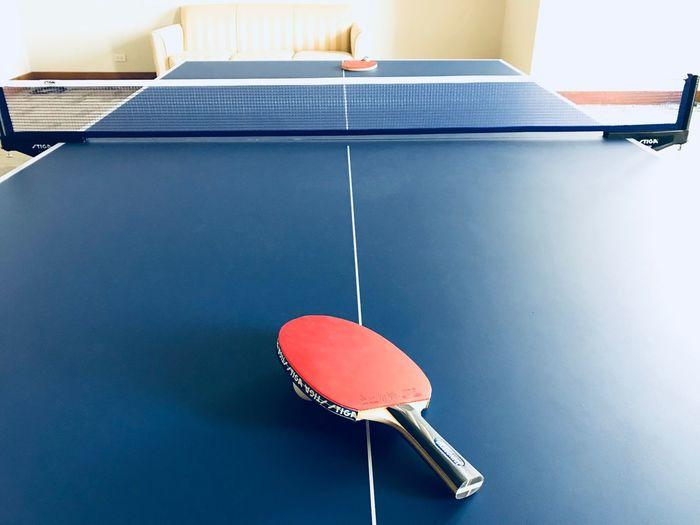 High angle view of table tennis