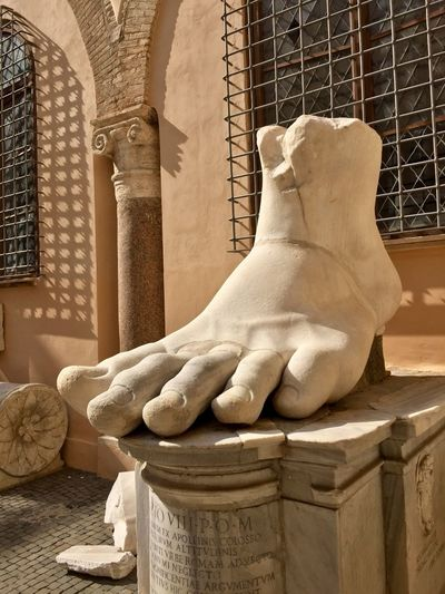 Statue of Foot in Capitolian Museum in Rome, Italy Capitol Hill Antique History Architecture Sculpture Statue Representation Built Structure Art And Craft Building Exterior Creativity The Past History Old