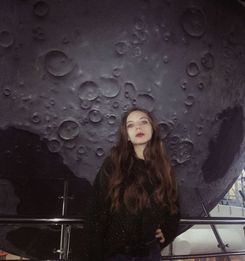 I'm flying to the Moon again dreaming about marzipan; and how I gave you everything and put ur life away Space Moon Young Girl Beauty Model Modeling Portrait Long Hair Brown Hair Looking At Camera Sky Astronomy Galaxy Planetary Moon
