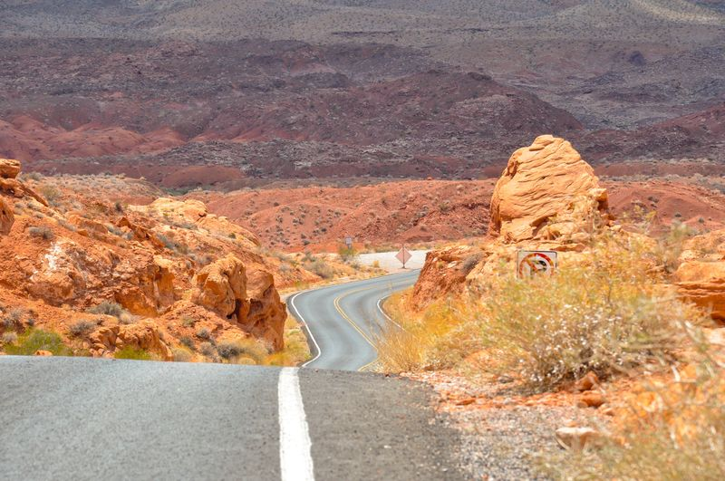 High Angle View Of Winding Road On Desert