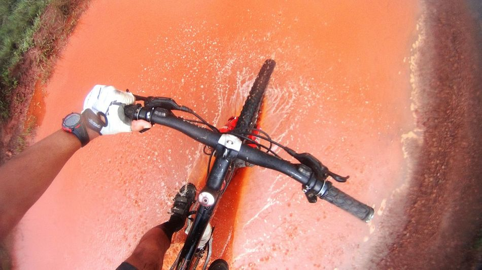 EyeEm Selects Bicycle Spraying Outdoors Human Body Part Human Hand Montainbike MTB SonyActionCam
