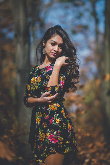 Young woman looking away outdoors