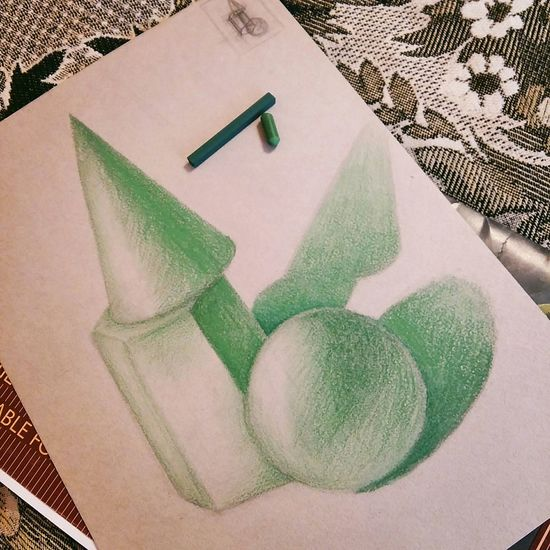 рисунок Пастель геометрические тела светотень моихудожества