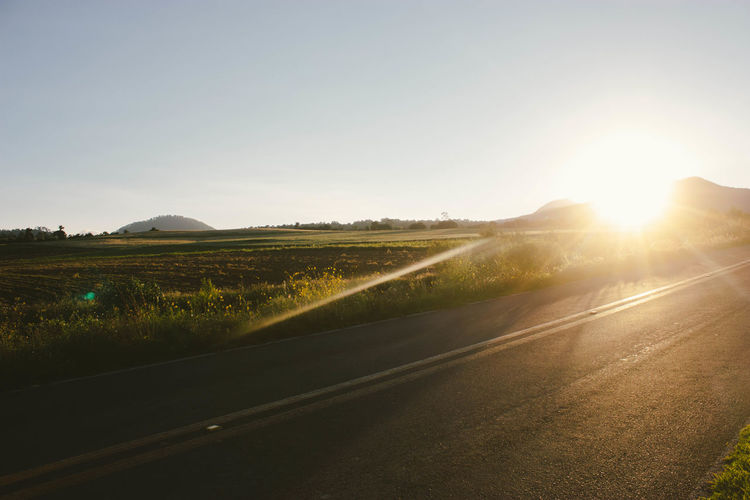 Sun going down in the road. Agriculture Beauty In Nature Day Field Goldenhour Grass Green Growth Highway Landscape Lens Flare Nature No People Nopeople Outdoors Road Rural Scene Scenics Sky Sun Sunbeam Sunlight Sunset The Way Forward Tree