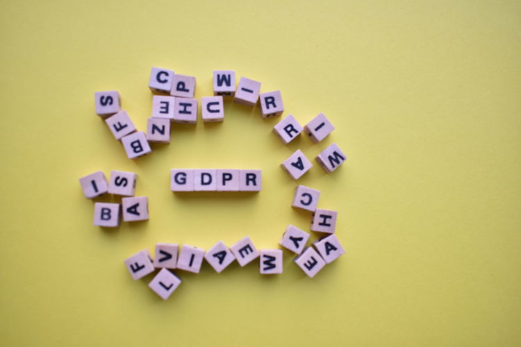 Gdpr GDPR Law Capital Letter Colored Background Communication Gdpr Gdpr Compliance Large Group Of Objects Message No People Order Single Word Studio Shot Text Western Script Yellow Yellow Background