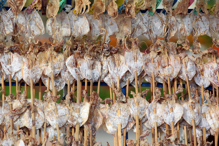 Dry fish for sale at the market