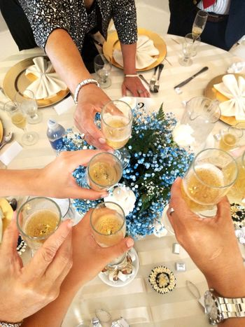 Wedding party cheers High Angle View Friendship Human Body Part Food And Drink Human Hand Celebration Lifestyles Indoors  Real People Adult Glass Women Hand Table Group Of People Drink Togetherness Leisure Activity Food Personal Perspective