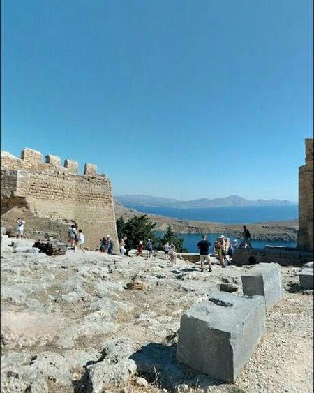 GREECE ♥♥ Rhodes Greece Lindos Greece Acropolis, Lindos Blue Sea Ancient Travel People Sky Skyview History Nature