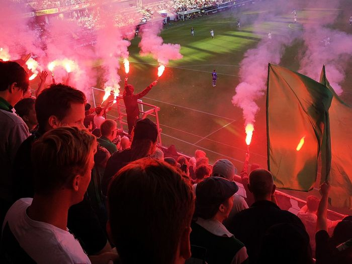 Pyro Soccer Stadium No Edit/no Filter Huaweiphotography Leicacamera Sweden Real People Summertime Sparks Crowd Audience Party - Social Event City Togetherness Happiness Men Firework Display Firework - Man Made Object Entertainment Event World Cup 2018