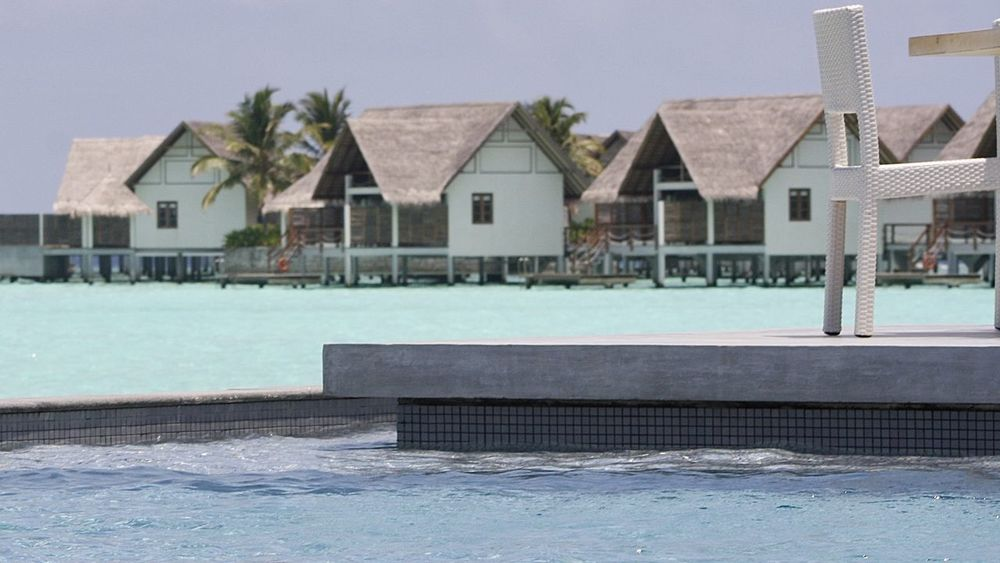 Architecture Blue Building Exterior Chair Fine Art Holiday House Infinity Pool Maldives Miles Away Ocean Outdoors Palm Trees Summer Swimming Pool Table Take Your Place Thatched Roof Travel Turquoise Water Watervillage