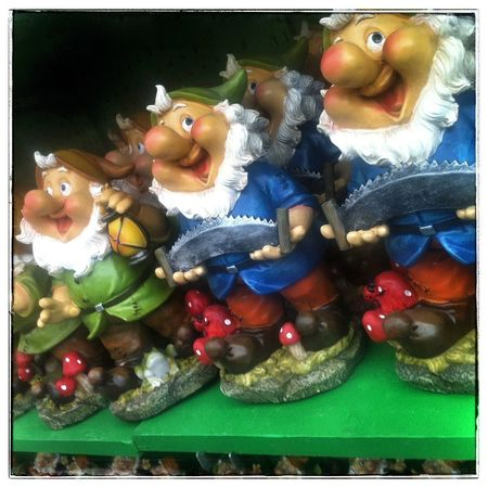 Smiling little gnomes. Photography IPhoneography Garden Statuettes