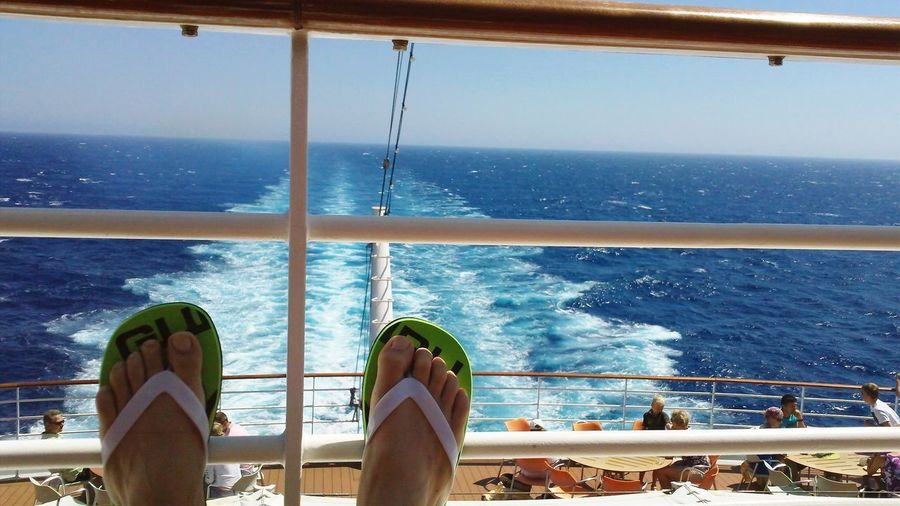 Relax ☀️ AIDAblu Aida Cruise Aida Sea And Sky Ocean View Ocean Erholung Seetag Sea Water Low Section Real People Railing Leisure Activity Lifestyles Nautical Vessel Horizon Over Water
