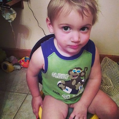 Lmao the look on his face when I try to snap a picture of him on his potty haha Pottytrained 20months Mysmartlittleman Lovemyfamily