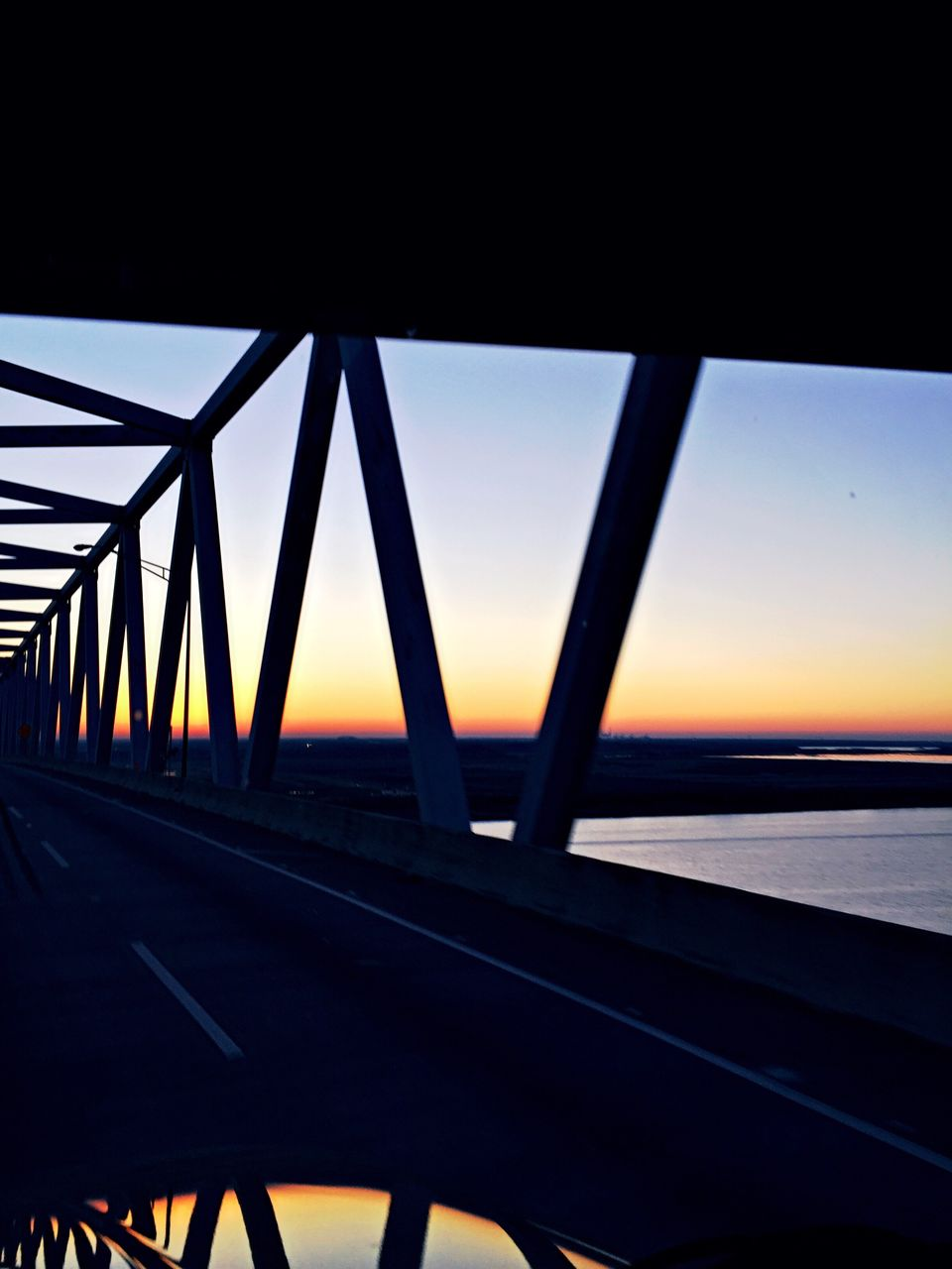 sunset, transportation, bridge - man made structure, sky, road, no people, built structure, outdoors, nature, water, day, architecture, close-up