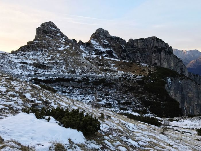 Snow Winter Mountain Cold Temperature Nature Beauty In Nature Tranquility Scenics Sky Non-urban Scene Outdoors Low Angle View Tranquil Scene Day No People Dolomites, Italy Wakeupandexplore