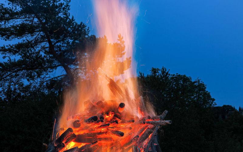 Bonfire on field against sky