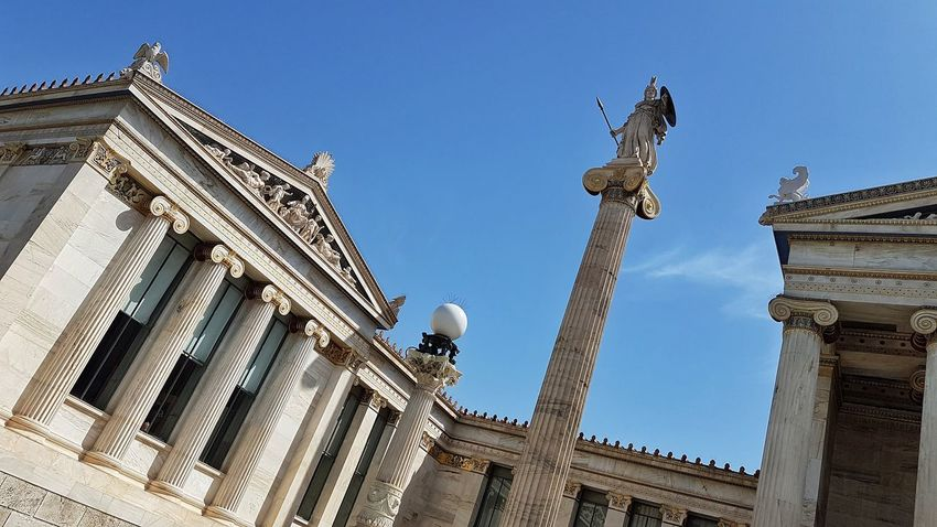 The Academy of Athens Neoclassical Architecture Columns Neoclassical Architecture Façade Building Sky International Landmark Low Angle View Marble Athens Politics And Government King - Royal Person Government