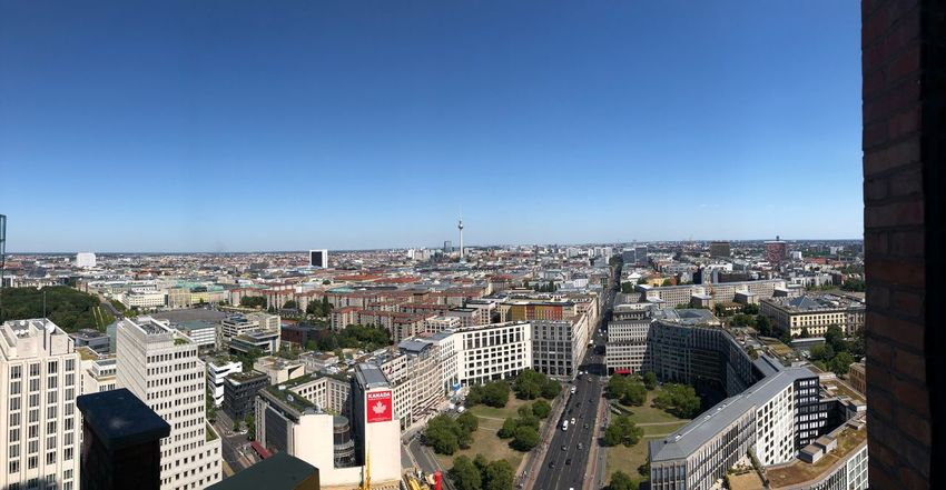 Berlin Panorama Streetphotography Berlin Photography Berlin Panorama View Panorama Architecture Built Structure Building Exterior City Sky Cityscape Building Clear Sky Blue Day City Life Office Building Exterior Modern Outdoors High Angle View