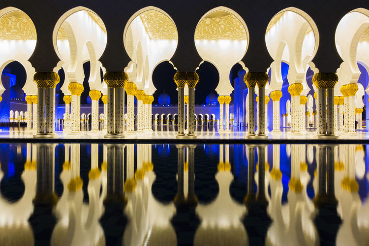 Reflection of columns in water