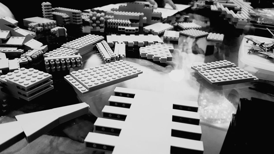 EyeEmNewHere No People High Angle View EyeEm Selects Indoors  Lego Building LEGO Black And White Construction Destruction