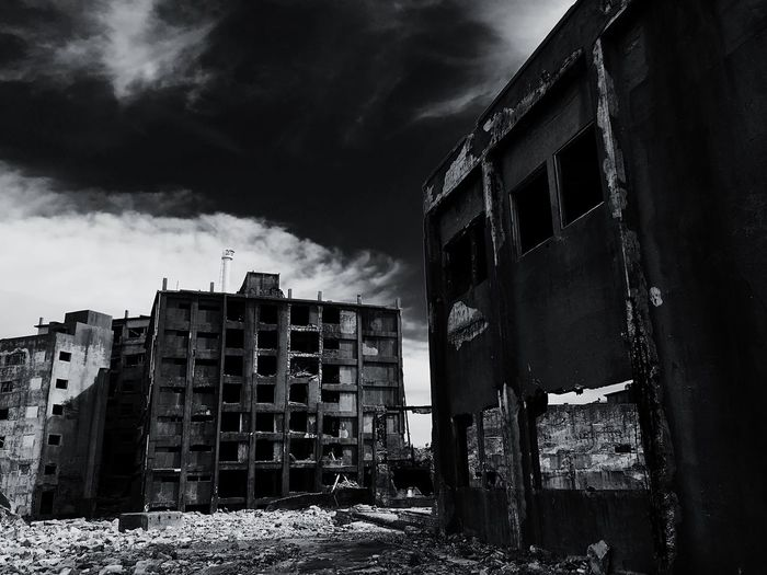 Gunkanjima Hashima Battleshipisland Nagasaki JAPAN Japan World Cultural Heritage Ruined Building Ruin Apartment Blackandwhite Black & White